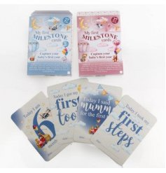 Capture those first years with this pack of baby milestone cards in pink and blue designs.