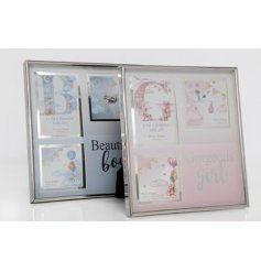A mix of 2 pretty Beautiful Boy and Gorgeous Girl pink and blue photo frames.