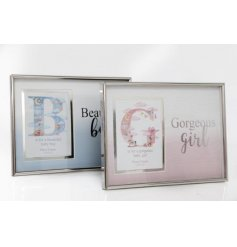 A mix of 2 beautiful photo frames in pink and blue ombre colours with a silver baby/boy girl slogan and silver frame.