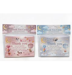 A mix of 2 baby boy and baby girl thank you cards in pink and blue designs with wonderful children's illustrations.