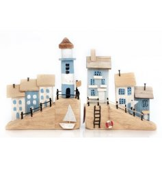 A mix of 2 rustic seaside town ornaments with a shabby chic painted finish.
