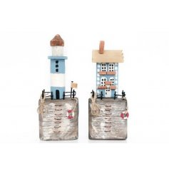 A mix of 2 rustic wooden beach house and light house ornaments with a charming handmade look and painted finish.