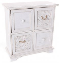 Bring a shabby chic touch to any home needing additional storage and organisation with this beautiful wooden draw unit