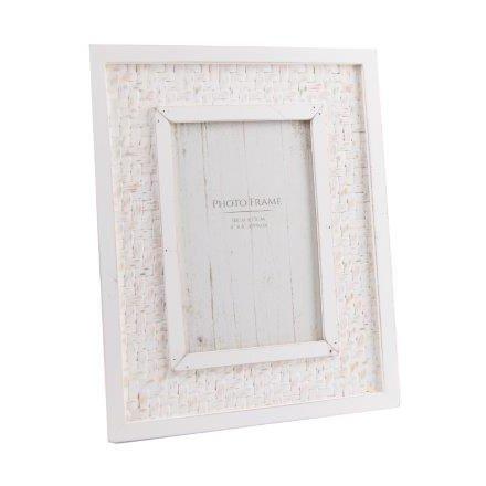 SS0700 / White Wooden Jute Frame, 4x6\