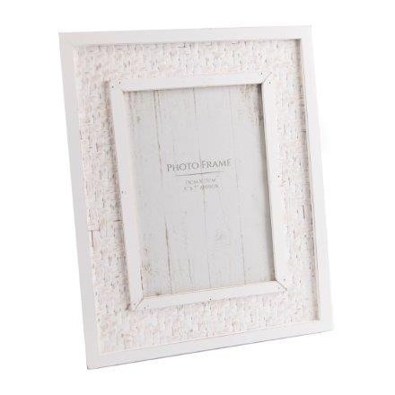 Ss0701 White Wooden Jute Frame 5x7 41933 Photo Frames