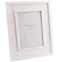 A beautifully Shabby Chic inspired wooden picture frame, decorated with a white wooden effect and added Jute embossed f