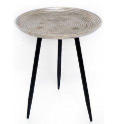 Tarnished Silver Aluminium Table, 35cm   Bring a Sleek Contemporary edge to any interior with this stylish 3 legged side