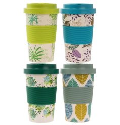 A stylish assortment of printed bamboo travel mugs, each set with its own design and colour coordinating lid