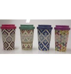 Add a Geometric Trend to your morning commute with this stylish assortment of Bamboo Based Travel Mugs
