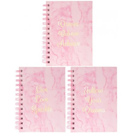 Pink Marble Assorted Notebooks