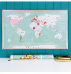 Keep track of your travels and scratch off where youve been with this fun and colourful World Map Scratch Poster