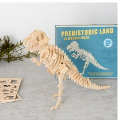 A 'roarsome' 42 piece puzzle that builds up a 3D Tyrannosaurus Rex