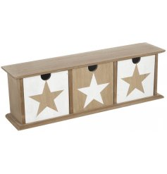 A stylish 3 drawer storage unit with a star design. In natural and white colours.