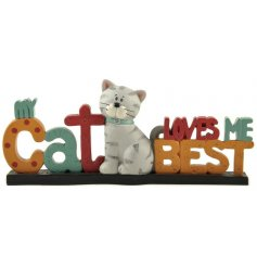 My Cat Loves Me Best. A colourful mini sign with a cat decoration. A great gift item.