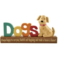 A colourful and quirky happy dog decoration with a lovely sentiment slogan. A great gift item.