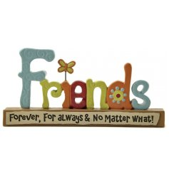 A charming friendship sentiment plaque with a butterfly decoration and sentiment slogan.