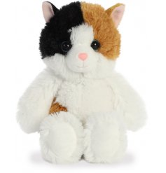 A plush little kitten soft toy, covered with soft to the touch white fur and filled with the most snuggable stuffing