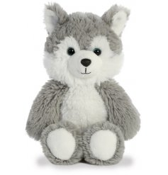A plush little doggy soft toy, covered with soft to the touch white fur and filled with the most snuggable stuffing