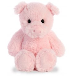 A plush little piggy soft toy, covered with soft to the touch pink fur and filled with the most snuggable stuffing