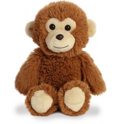 A plush little monkey soft toy, covered with soft to the touch brown fur and filled with the most snuggable stuffing