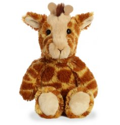 A plush little giraffe soft toy, covered with soft to the touch white fur and filled with the most snuggable stuffing