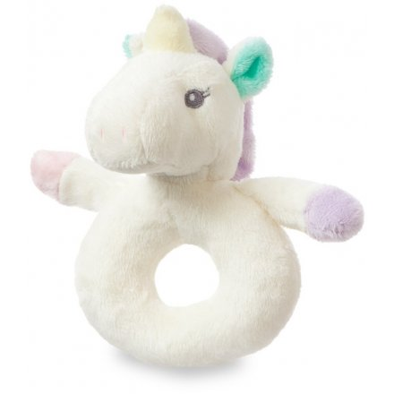 Part of the wonderfully snuggly 'Aurora Baby' range is this super soft cream coloured unicorn rattle