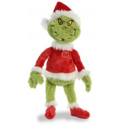 Part of our new range of Dr Seuss themed soft toys is the wonderfully grumpy Grinch dressed up in his homemade Santa su