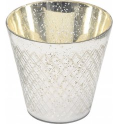Bring a Golden Luxe touch to any home interior with this beautifully decorated glass candle holder
