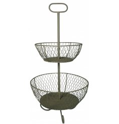 A distressed Wire 2 tier stand with added spiral feet and a handle