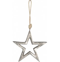 A rough edged hanging aluminium star set with a chunky rope finish