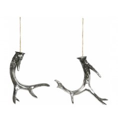 Bring an Antique touch to your Christmas display or home decor with this beautiful assortment of hanging silver antlers