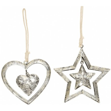 Hanging Tarnished Heart & Star Decorations