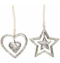 Bring a Vintage touch to your tree decor or display with this charming assortment of hanging heart and star decorations