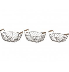 A set of 3 metal wire baskets in assorted sizes, each set with natural wooden handle features