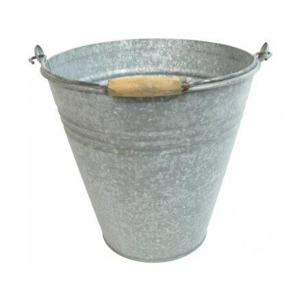 Rustic Metal Bucket Planter, 30cm