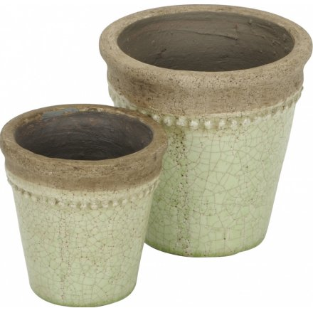 Distressed Green Set of 2 Planters