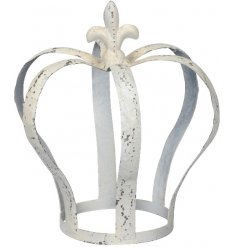 An Antique inspired metal crown decoration featuring an overly distressed charm and white washed finish