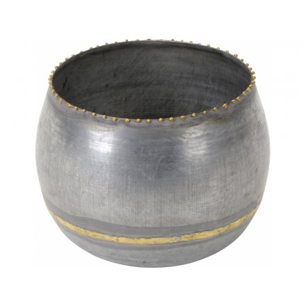 Gold and Grey Candle Holder, 14.5cm