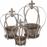 A set of 3 rustic grey crown planters. Each has a distressed finish and plenty of character and charm.