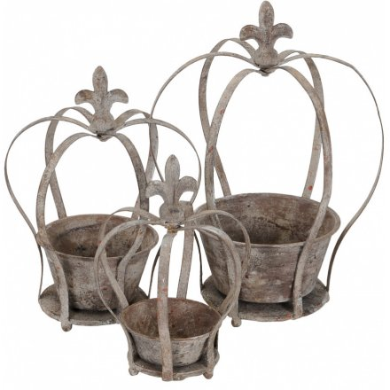 Grey Crown Planters, Set 3