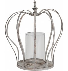 Add some vintage charm to the home with this rustic metal grey crown. A chic candle holder.