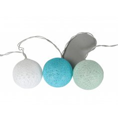 Bring a soft blue feature to any room of the house with this string of LED lights with a woven ball decal