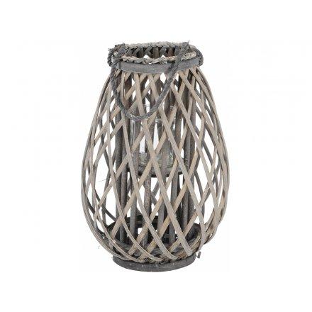 Grey Woven Lantern, 41cm
