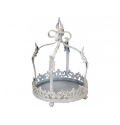A vintage style metal crown decoration with a shabby chic finish. Ideal for displaying plants, candles, trinkets & more.