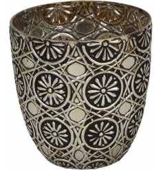 A luxury living floral patterned vase. A unique decorative accessory for the home.