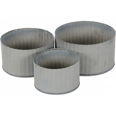 Grey Distressed Planters, Set 3