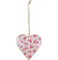 A pretty pink and purple floral heart with a gold edge and jute string to hang.