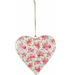 A pretty vintage style floral heart with a jute string hanger.