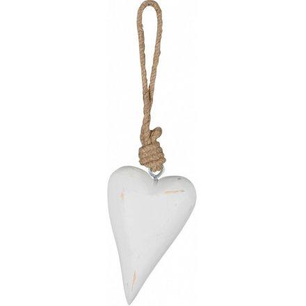 White Hanging Heart, 12cm
