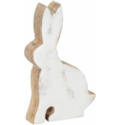 A charming white and natural wood bunny decoration with a shabby chic finish.